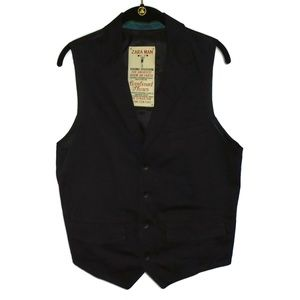 Zara Man Dress Vest Black Collared Button Mens L